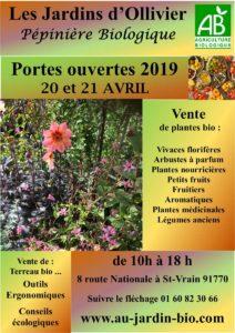Portes ouvertes d'avril de la pépinière biologique Ile de France (91)