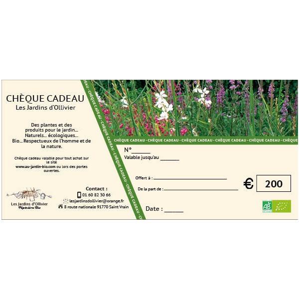 Au jardin bio : chèque cadeau 200 €