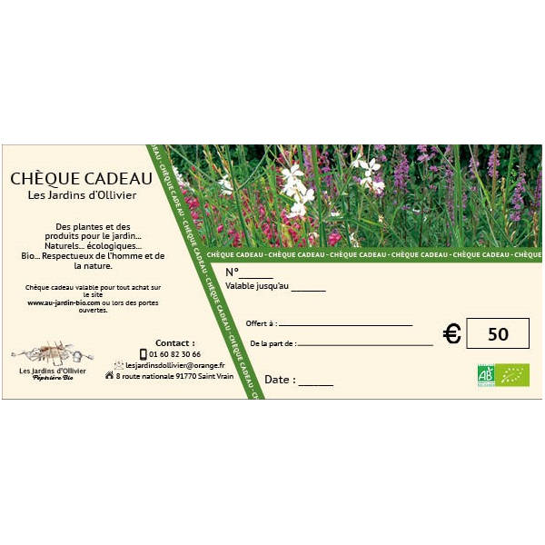 Au jardin bio : chèque cadeau 50 €